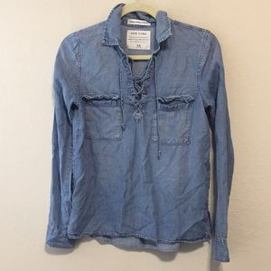 Abercrombie and Fitch Chambray Tie Front Top